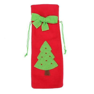 Christmas Red Wine Bottle Cover Bags with Green Bow Embroidery Pattern(Tree NEW
