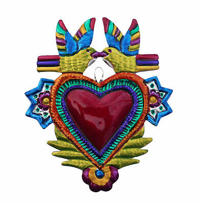 Hand-Punched Tin Ornament| Heart Milagro w Doves |Love Birds| Mexican Folk Art