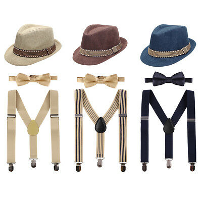 Baby Boy Cake Smash Suspenders Bow Tie Fedora Hat 3PCS Outfits Photography Prop