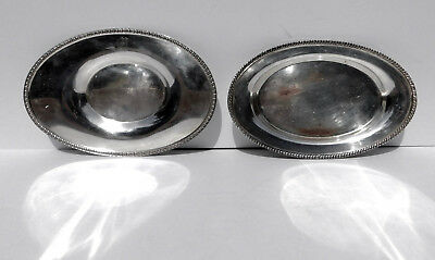 Antique Lot 2 Silver on Brass Sm Oval Trays ~Butler Trays Gravy Boat UnderPlates