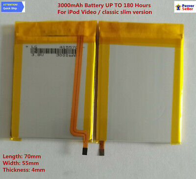THIN 3000mAh Battery Upgrade replacement for iPod Classic 6 6.5 7 Video 5 5.5