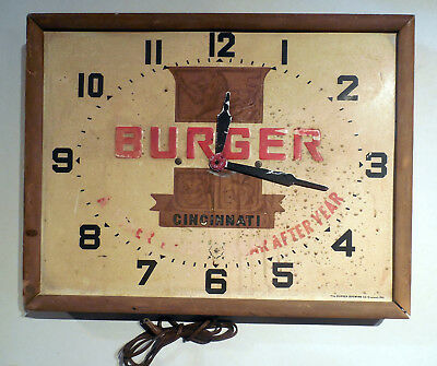 VINTAGE BURGER BEER ELECTRIC WALL ADVERTISING CLOCK CINCINNATI OH WORKS 1950s