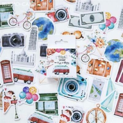 Set of 46 Watercolour Travel & Camera Inspired Journaling Scrapbook Stickers LA