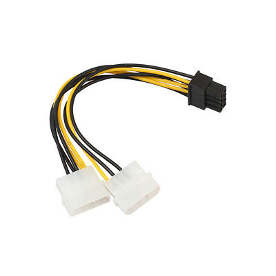 18cm 8 Pin(6+2) PCIE to Dual Molex Connector Graphics Card Cable Cord Striking