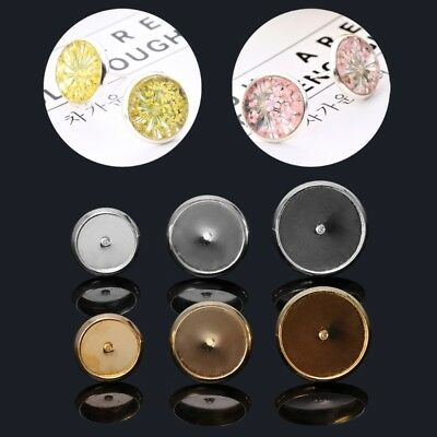 100PCS 8 10 12mm  DIY Flat Round Ear Posts Stud Earring Blanks Glass Cabochon