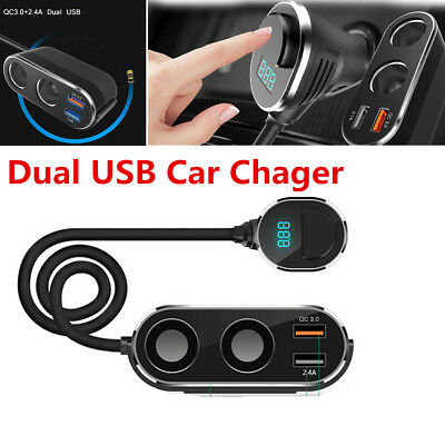 1X 2.4A Dual USB Port 2 Way Car Cigarette Lighter Socket Splitter Charger QC 3.0