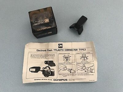 Olympus OM System Electronic Flash TTL Auto Connector Type 3 Box & Instructions