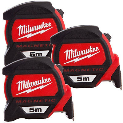 Milwaukee 4932459373 5m Premium Measuring Tape with Dual Magnetic Hook Pack Of 3