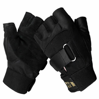 Weight Lifting Leather Gym Gloves Fingerless Bodybuilding Workout CLEARANCE