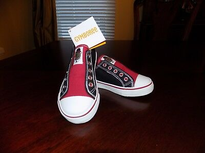 NWT Gymboree Boys Red & Black London Lad Bear Sneakers Shoes Sz 9 Slip On Canvas