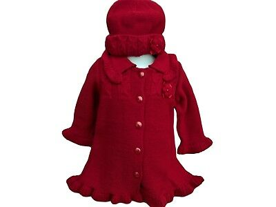 BNWT Baby girls Christmas red chunky knitted  cardigan coat  hat  set