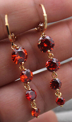 18K Yellow Gold Filled - 1.8'' Round Ruby Topaz Zircon Drop Hoop Gems Earrings