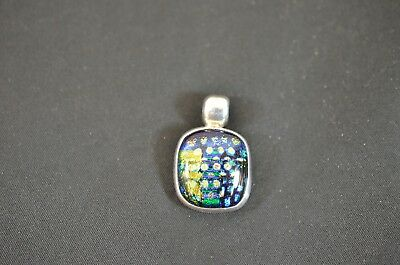 Vintage Dichroic Glass Sterling Silver Pendant .925 Mexico Iridescent Signed 900