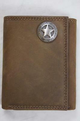 ZEP PRO Western TEXAS STAR Crazy Horse Leather trifold Wallet Tin Gift Box
