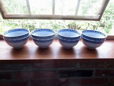 """8 Vintage Rice Bowls Chinese Rice Eyes Dragon Blue and White Porcelain~4 1/2"""""""