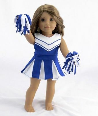 Royal Blue CheerLeader Uniform w Poms for American Girl Doll Clothes 18""