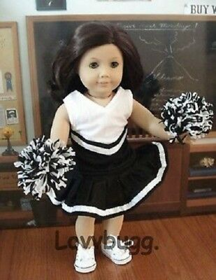 Black White Cheer Leader Outfit w Poms for 18 inch American Girl Doll Clothes