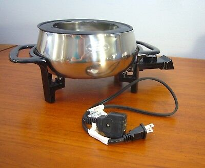 Rival Electric Fondue Pot Non-stick Stainless Steel Drip Ledge
