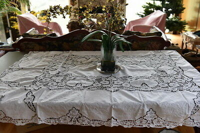"""Lim's Cotton Battenberg Lace and Hand Embroidered Tablecloth 51"""" x 72"""" White"""