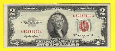 CRISP $2 DOLLAR 1953A RED SEAL Legal Tender United States Note ANTIQUE US MONEY