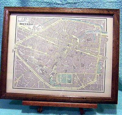 ANTIQUE FRAMED MAP Of Brussels, Belgium - With Hotels - Excellent ...