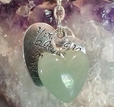 """New Key Chain/pendant - """"you Are Always In My Heart"""" & Green Adventurine Heart"""