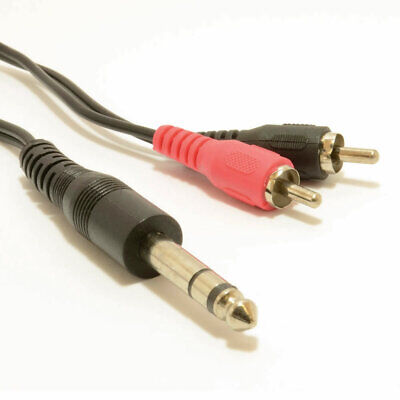 1m 6.35mm 1/4 inch Stereo Jack Plug to Aux RCA Phono Plugs Audio Cable [007395]