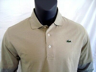 7983b203 Lacoste SPORT Tan 100% Cotton Knit Men's Long Sleeve Shirt NEW Size S or  Size