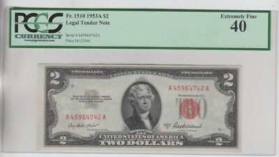 Legal Tender $2 Red Seal 1953-A PCGS graded  ef 40