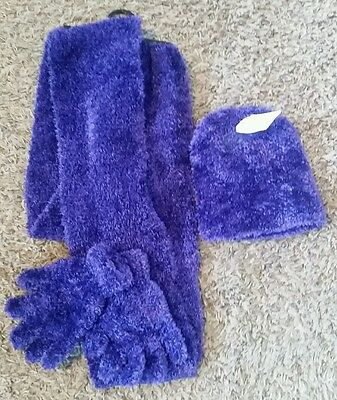 Faded Glory Girls purple winter accessories set Beanie Gloves Scarf One Size