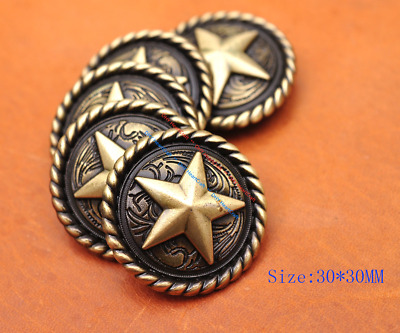 10X 30Mm Antique Brass Rope Edge Lucky Star Leathercraft Western Saddles Conchos