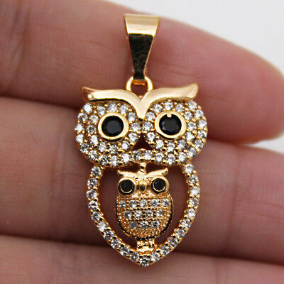 18K Gold Filled - Clear Zircon Black Onyx Double Owl Hollow Pageant Girl Pendant