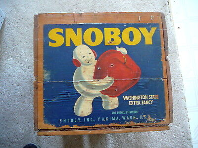 SNOBOY APPLES VINTAGE ADVERTISING WOOD WOODEN CRATE BOX - 12.5 x 19.5 x 11