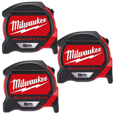 Milwaukee 4932464177 8m Premium Magnetic Tape Measure With Finger Stop Pack Of 3
