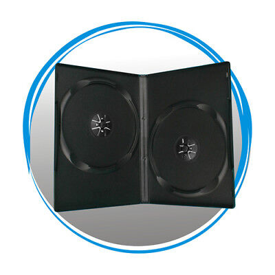 50 Standard 14mm Double CD DVD Black Storage Case Box