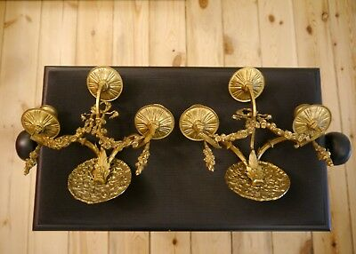 3 lights antique candle brass pair french wall lamps sconces bronze