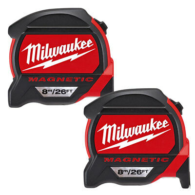 Milwaukee 4932464178 8m/26ft Premium Magnetic Tape Measure Pack Of 2