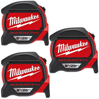 Milwaukee 4932464178 8m/26ft Premium Magnetic Tape Measure Pack Of 3