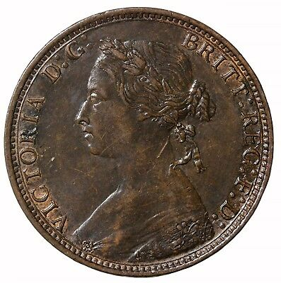 1876-H Great Britain Halfpenny Large Date KM#754 Queen Victoria Coin 1/2 Penny