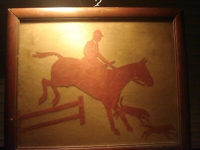 Antique Signed Nancy Parrish Fox Hunting with Hounds Silhouette
