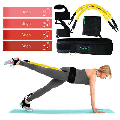 4 Resistance Bands + Booty Belt System Set of 5 Exercise Workout Fitness Yoga