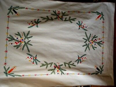 Vtg German LARGE Christmas Tablecloth  HAND Embroidered Pine Branches w candles