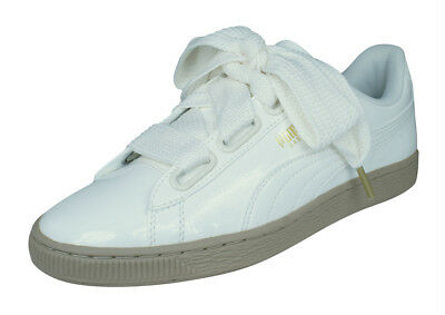 5ad8d4b6e5b Puma Basket Heart Patent Womens Leather Trainers Shoes w Wide Woven Laces  -White