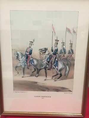 """Pair Of Antique French Cavalry Officer Prints-Framed 13"""" By 17"""""""
