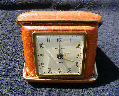 Vintage Everbrite Watch Co. Travel Time Alarm Clock Two Jewels