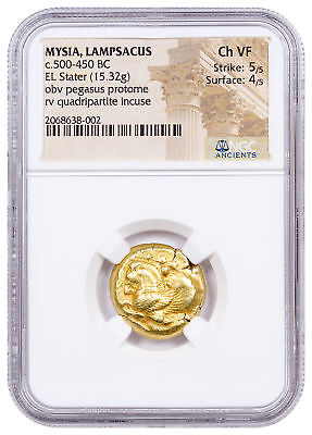 c.500-450 BC Mysia, Lampsacus Electrum Stater NGC Ch VF 5/5, 4/5 SKU54900
