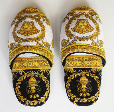 Versace Baroque Medusa Bath Slippers 1 Pair - Size L - Black White Gold