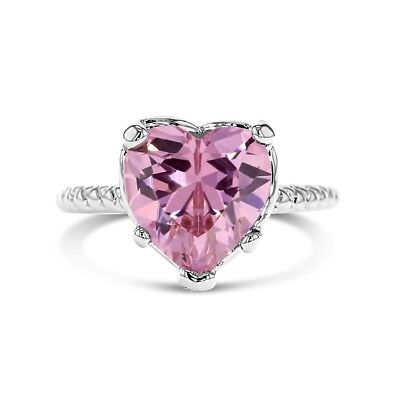 Rhodium Plated Pink Crystal Solitaire Heart Ring Baby Girls Kids 1.5