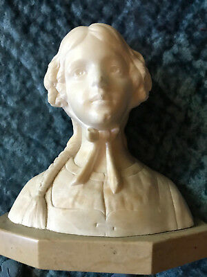 Vintage VICTORIAN  girl lady head statue sculpture small marble Dutch antique