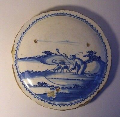 18th century  Tin glazed earthenware Delft  charger centre plaque.
